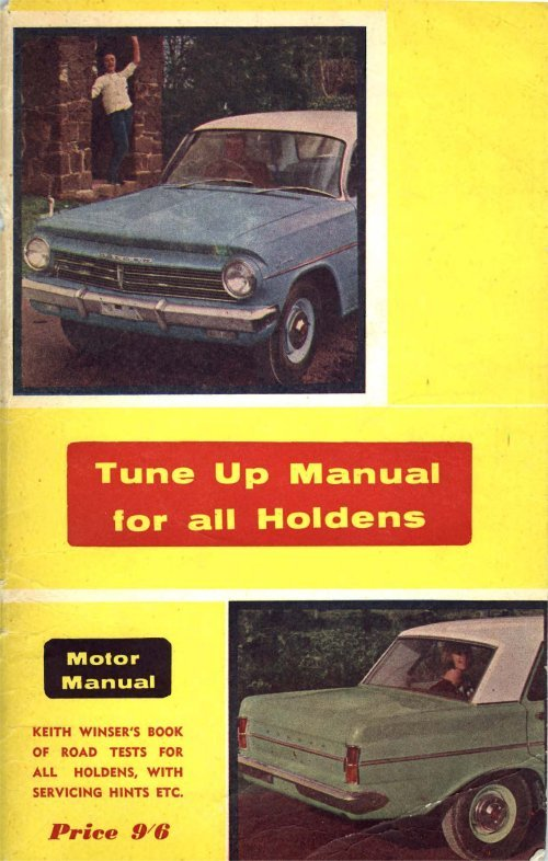 Product picture TUNE-UP MANUAL For Holden Cars FX FJ FE FC FB EK EJ EH
